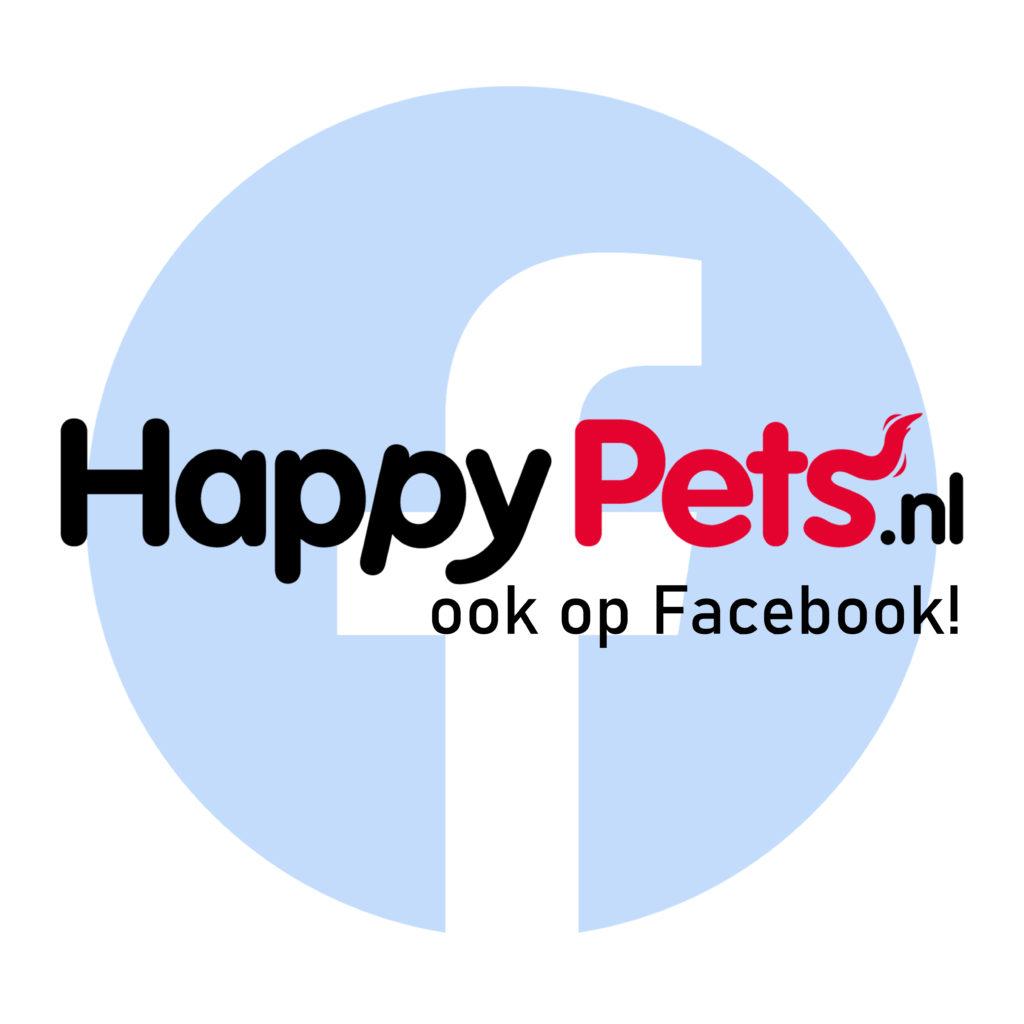 Facebook banner van HappyPets.nl op Facebook, met de tekst 'ook op Facebook!'